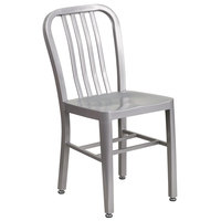 Flash Furniture CH-61200-18-SIL-GG Silver Metal Indoor / Outdoor Chair with Vertical Slat Back