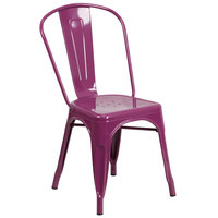 Flash Furniture ET-3534-PUR-GG Purple Stackable Galvanized Steel Chair with Vertical Slat Back and Drain Hole Seat