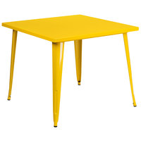 Flash Furniture CH-51050-29-YL-GG 35 1/2 inch Yellow Metal Indoor / Outdoor Square Cafe Table