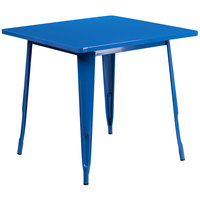 Flash Furniture ET-CT002-1-BL-GG 30 inch Blue Metal Indoor / Outdoor Square Cafe Table