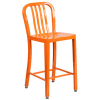 Flash Furniture CH-61200-24-OR-GG 24 inch Orange Metal Indoor / Outdoor Counter Height Stool with Vertical Slat Back