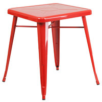 Flash Furniture CH-31330-29-RED-GG 24 inch Red Metal Indoor / Outdoor Square Cafe Table