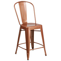 Flash Furniture ET-3534-24-POC-GG 24 inch Copper Galvanized Steel Counter Height Stool with Vertical Slat Back and Drain Hole Seat