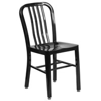 Flash Furniture CH-61200-18-BK-GG Black Metal Indoor / Outdoor Chair with Vertical Slat Back