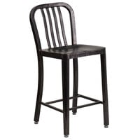 Flash Furniture CH-61200-24-BQ-GG 24 inch Black-Antique Gold Metal Indoor / Outdoor Counter Height Stool with Vertical Slat Back