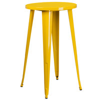 Flash Furniture CH-51080-40-YL-GG 24 inch Yellow Metal Indoor / Outdoor Round Bar Height Table