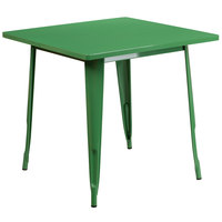 Flash Furniture ET-CT002-1-GN-GG 30 inch Green Metal Indoor / Outdoor Square Cafe Table