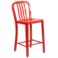 Flash Furniture CH-61200-24-RED-GG 24 inch Red Metal Indoor / Outdoor Counter Height Stool with Vertical Slat Back