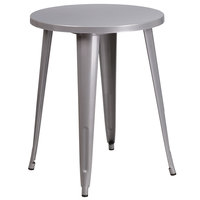 Flash Furniture CH-51080-29-SIL-GG 24 inch Silver Metal Indoor / Outdoor Round Cafe Table
