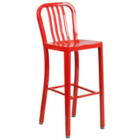 Flash Furniture CH-61200-30-RED-GG 30 inch Red Metal Indoor / Outdoor Bar Height Stool with Vertical Slat Back