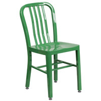 Flash Furniture CH-61200-18-GN-GG Green Metal Indoor / Outdoor Chair with Vertical Slat Back