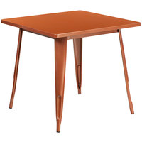 Flash Furniture ET-CT002-1-POC-GG 30 inch Copper Metal Indoor / Outdoor Square Cafe Table