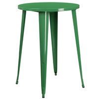 Flash Furniture CH-51090-40-GN-GG 30 inch Green Metal Indoor / Outdoor Round Bar Height Table