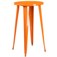 Flash Furniture CH-51080-40-OR-GG 24 inch Orange Metal Indoor / Outdoor Round Bar Height Table