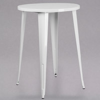 Flash Furniture CH-51090-40-WH-GG 30 inch White Metal Indoor / Outdoor Round Bar Height Table