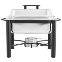 Choice 4 Qt. Half Size Wrought Iron Pillar Chafer Kit with Stainless Steel Cover and Plastic Handle