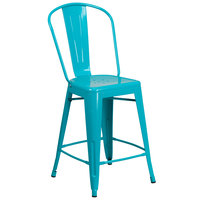 Flash Furniture ET-3534-24-CB-GG 24 inch Crystal Teal Blue Galvanized Steel Counter Height Stool with Vertical Slat Back and Drain Hole Seat