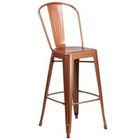 Flash Furniture ET-3534-30-POC-GG 30 inch Copper Galvanized Steel Bar Height Stool with Vertical Slat Back and Drain Hole Seat