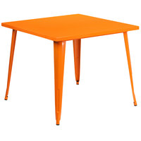 Flash Furniture CH-51050-29-OR-GG 35 1/2 inch Orange Metal Indoor / Outdoor Square Cafe Table