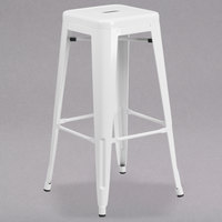Flash Furniture CH-31320-30-WH-GG 30 inch White Stackable Metal Indoor / Outdoor Backless Bar Height Stool with Square Drain Seat