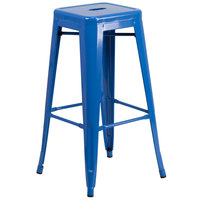 Flash Furniture CH-31320-30-BL-GG 30 inch Blue Stackable Metal Indoor / Outdoor Backless Bar Height Stool with Square Drain Seat