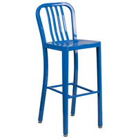 Flash Furniture CH-61200-30-BL-GG 30 inch Blue Metal Indoor / Outdoor Bar Height Stool with Vertical Slat Back