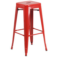 Flash Furniture CH-31320-30-RED-GG 30 inch Red Stackable Metal Indoor / Outdoor Backless Bar Height Stool with Square Drain Seat