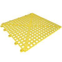 Cactus Mat Dri-Dek 2554-YT Yellow 12 inch x 12 inch Vinyl Interlocking Drainage Floor Tile- 9/16 inch Thick