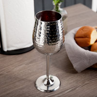 American Metalcraft SGH16 16 oz. Hammered Finish Stainless Steel Goblet