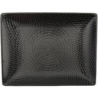 Oneida L6250000865 Urban 12 inch Black Porcelain Sushi Plate / Rectangular Platter - 12/Case