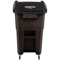 Rubbermaid 2018384 Brute 50 Gallon Brown Rollout Trash Can with Casters