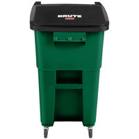 Rubbermaid 2018382 Brute 50 Gallon Green Rollout Trash Can with Casters