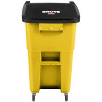 Rubbermaid 2018381 Brute 50 Gallon Yellow Rollout Trash Can with Casters