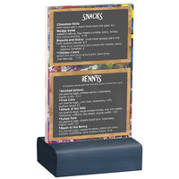 Menu Solutions WBCL-A 4 inch x 6 inch Clear Acrylic Table Tent with Solid Denim Wood Base