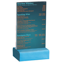 Menu Solutions WBCL-A 4 inch x 6 inch Clear Acrylic Table Tent with Solid Sky Blue Wood Base