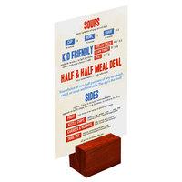 Menu Solutions WDBLOCK-REC 2 inch Mahogany Wood Rectangular Card Holder