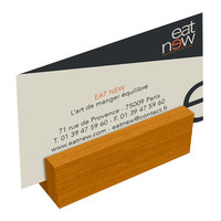 Menu Solutions WDBLOCK-MINI 3 inch Country Oak Wood Mini Card Holder