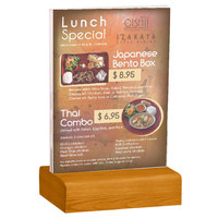 Menu Solutions WBCL-E 5 1/2 inch x 8 1/2 inch Clear Acrylic Table Tent with Solid Country Oak Wood Base