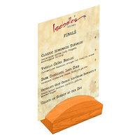 Menu Solutions WDBLOCK-RND 4 inch Mandarin Wood Rounded Card Holder
