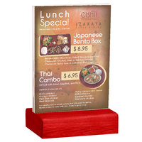 Menu Solutions WBCL-E 5 1/2 inch x 8 1/2 inch Clear Acrylic Table Tent with Solid Berry Wood Base