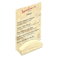 Menu Solutions WDBLOCK-RND 4 inch Natural Wood Rounded Card Holder