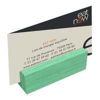 Menu Solutions WDBLOCK-MINI 3 inch Washed Teal Wood Mini Card Holder