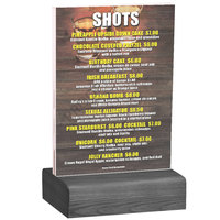 Menu Solutions WBCL-B 5 inch x 7 inch Clear Acrylic Table Tent with Solid Ash Wood Base