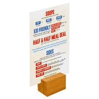 Menu Solutions WDBLOCK-REC 2 inch Country Oak Wood Rectangular Card Holder