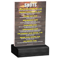 Menu Solutions WBCL-B 5 inch x 7 inch Clear Acrylic Table Tent with Solid Black Wood Base