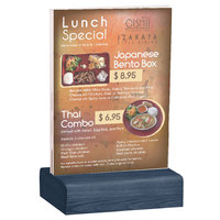 Menu Solutions WBCL-E 5 1/2 inch x 8 1/2 inch Clear Acrylic Table Tent with Solid Denim Wood Base