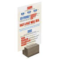 Menu Solutions WDBLOCK-REC 2 inch Weathered Walnut Wood Rectangular Card Holder