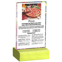 Menu Solutions WBCL-A 4 inch x 6 inch Clear Acrylic Table Tent with Solid Lime Wood Base