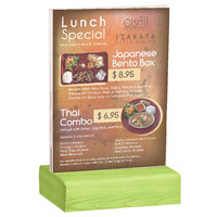 Menu Solutions WBCL-E 5 1/2 inch x 8 1/2 inch Clear Acrylic Table Tent with Solid Lime Wood Base