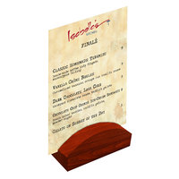 Menu Solutions WDBLOCK-RND 4 inch Mahogany Wood Rounded Card Holder